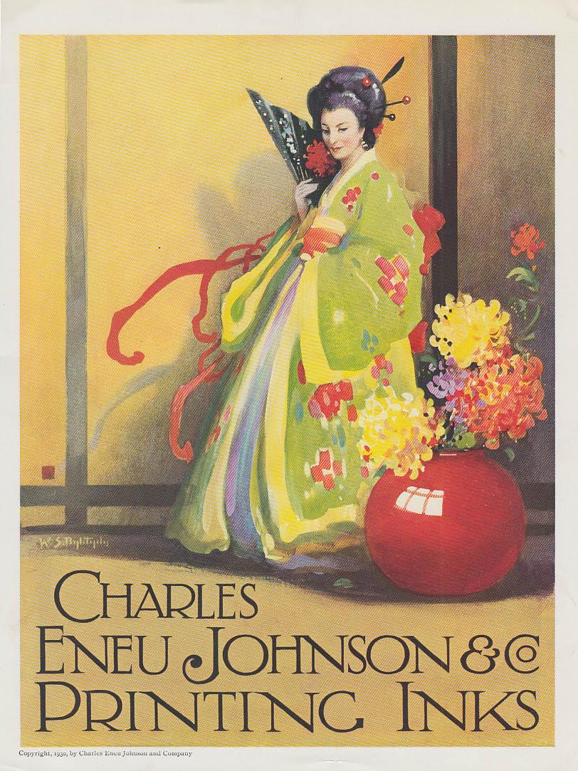 Charles Eneu Johnson & Co Printing Inks ad 1930 Japanese Geisha motif