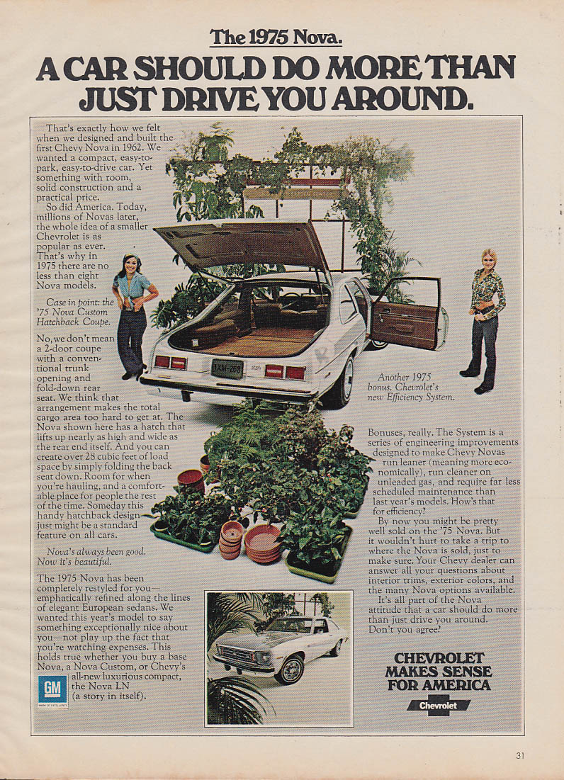 A car shouold do more than just drive you around Chevrolet Nova ad 1975 GL