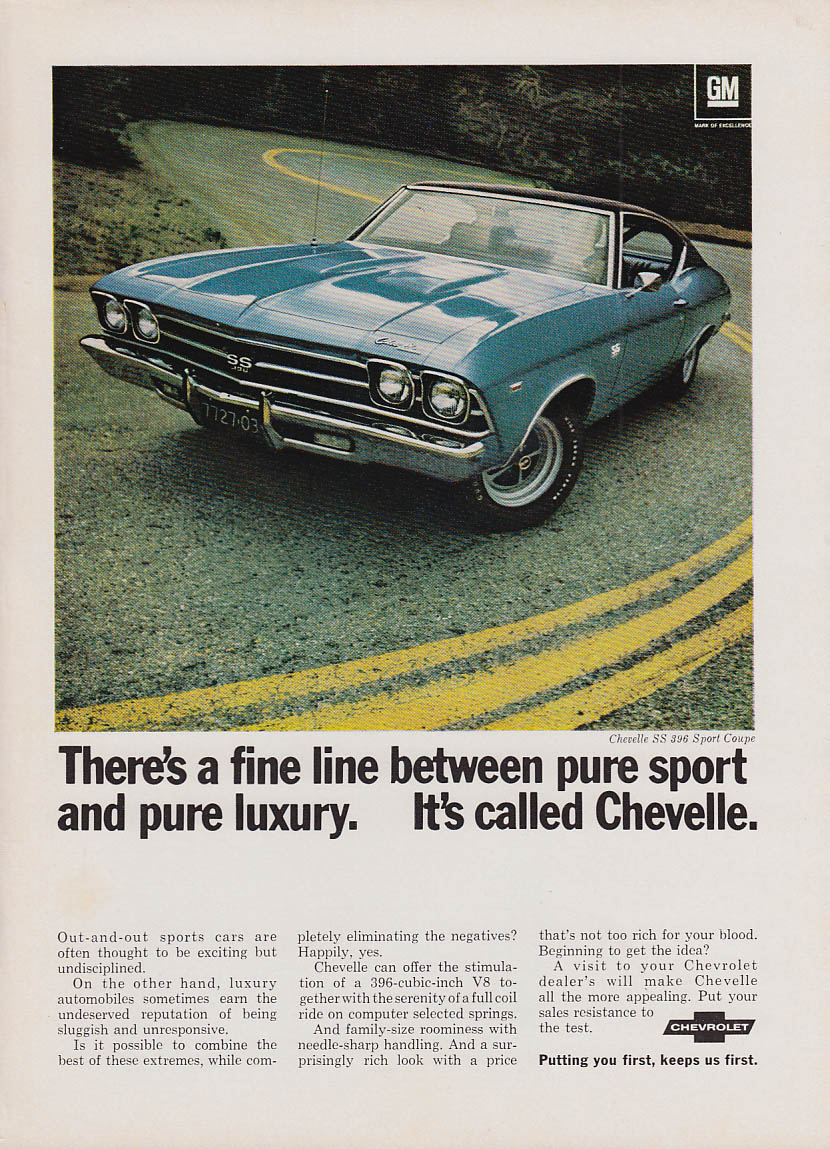A fine line between pure sport & pure luxury Chevelle SS 396 Coupe ad 1969 NY