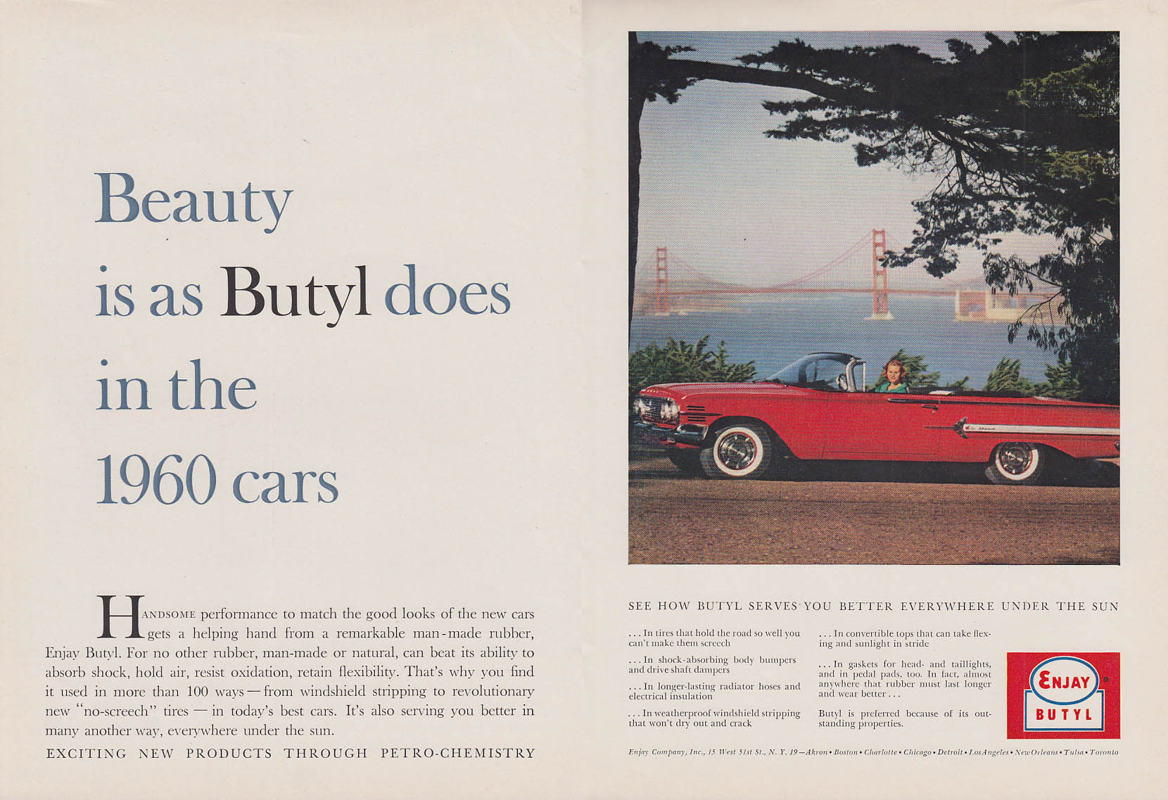 Beauty is as Butyl does Enjay ad 1960 Chevrolet Impala convertible NY