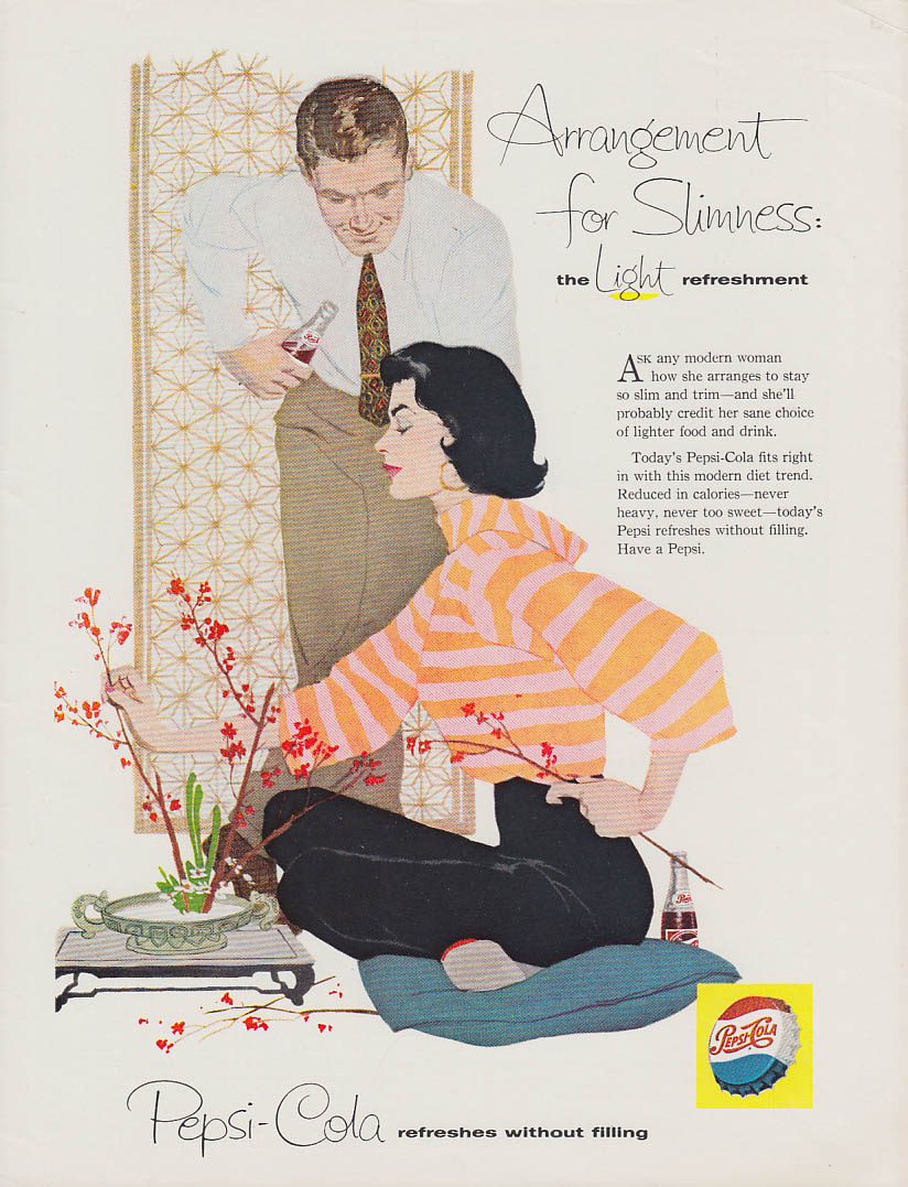 Arrangement for slimness Pepsi-Cola ad 1960 flower arranging couple