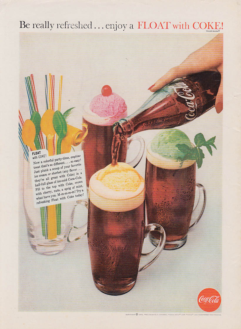 Be really refreshed enjoy a float with Coca-Cola ad 1960 AG