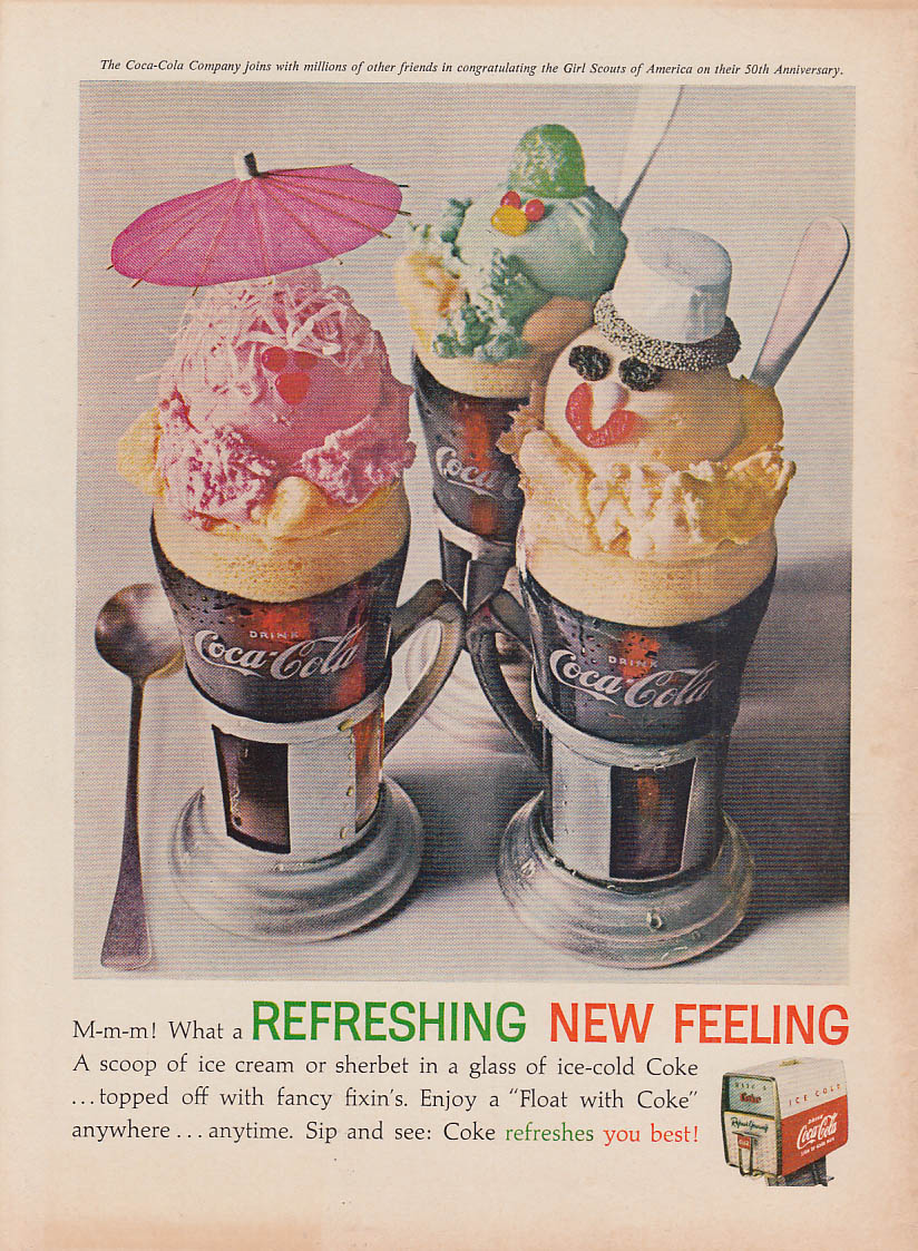 A scoop of ice cream or sherbet Coca-Cola float ad 1962 AG