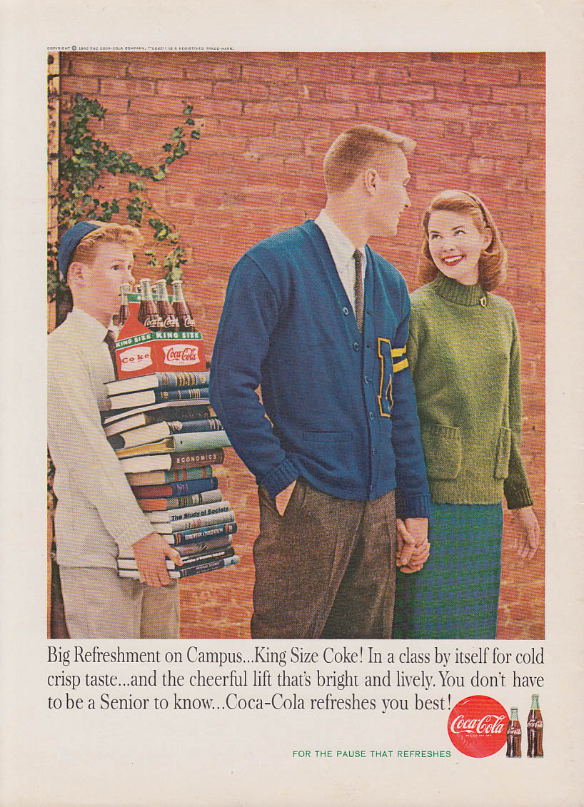 Big refreshment on campus Coca-Cola ad 1960 jock, girl, frosh carries books AG