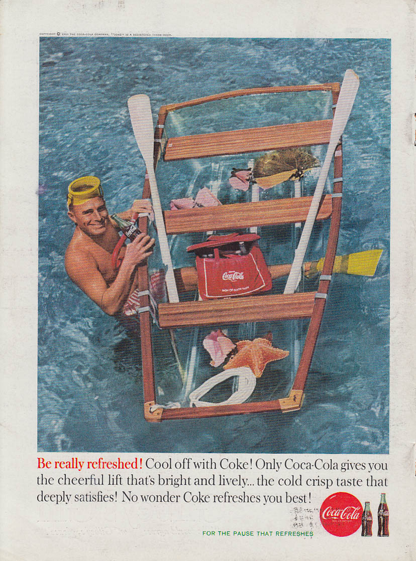 Cool off with Coca-Cola ad 1960 skin diver with boat SI