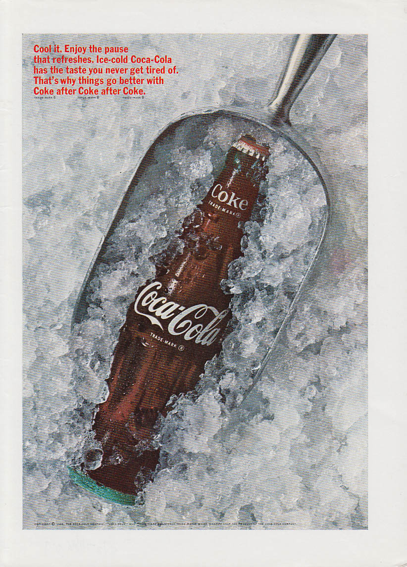 Cool off Enjoy the pause that refreshed Coca-Cola ad 1966 crushed ice scoop NY