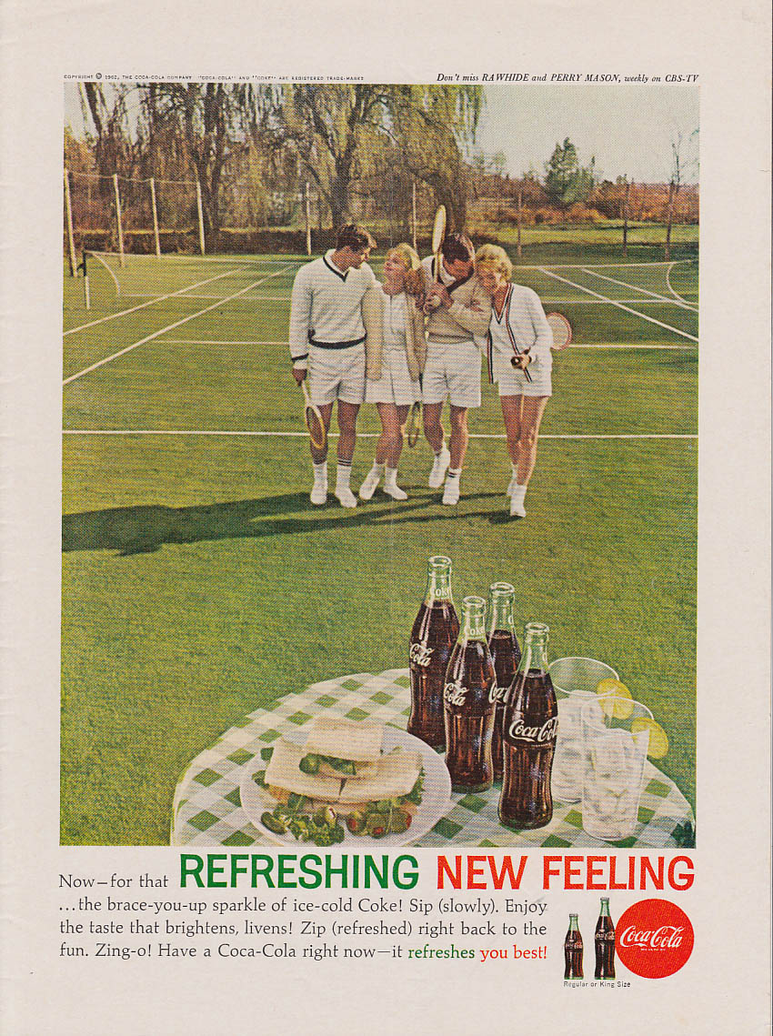 Brace-you-up sparkle of Coca-Cola ad 1962 after mixed doubles tennis NY