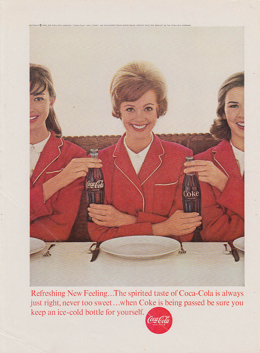 Always just right Coca-Cola ad 1963 3 girls in red uniforms NY