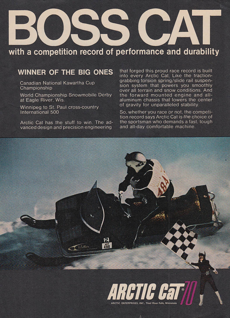 Boss Cat winner of the Big Ones - Arctic Cat snowmobile ad 1970 OL