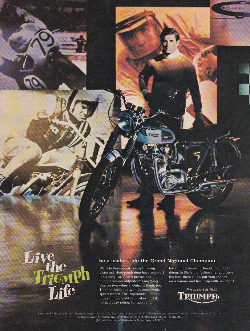 Image for Ride the Grand National Champion - Live the Triumph Motorcycle life ad 1968 HR