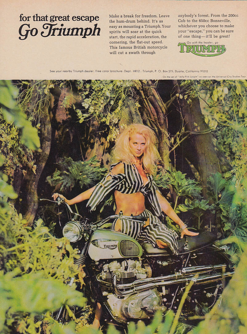 For that great escape Go Triumph Bonneville Motorcycle ad 1968 HR