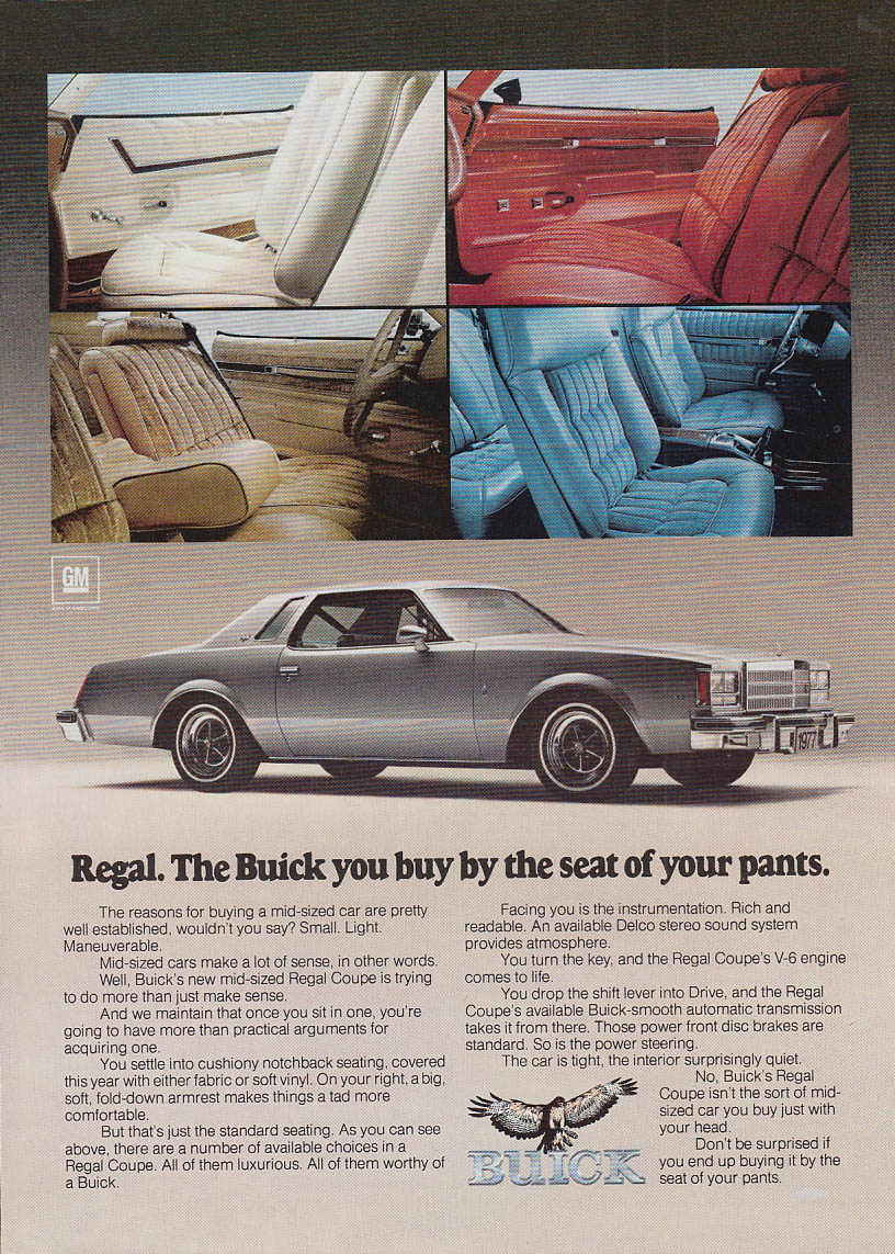 Regal. The Buick you buy by the seat of your pants ad 1977 NY
