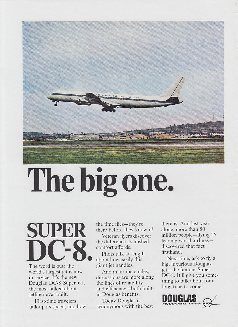 The big one. McDonnell Douglas Super DC-8 airliner ad 1967 NY