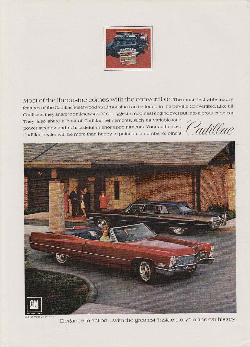 Most of the limousine comes with the convertible Cadillac ad 1968 NY