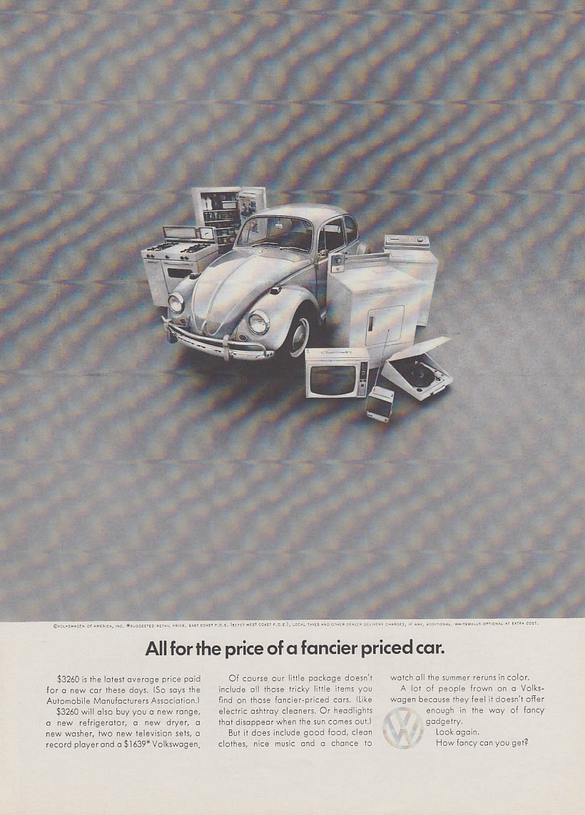 All for the price of a fancier priced car. Volkswagen Beetle ad 1967 NY