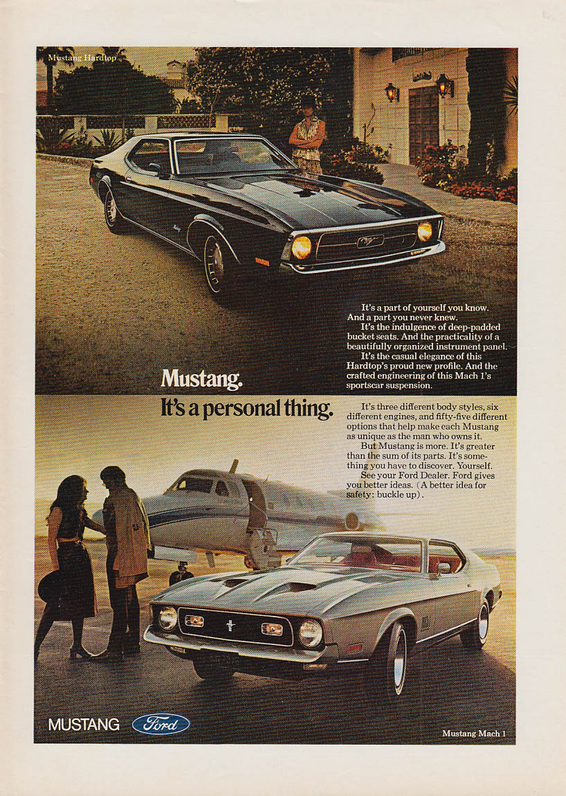 Ford Mustang. It's a personal thing ad 1971 hardtop & Mach I NY