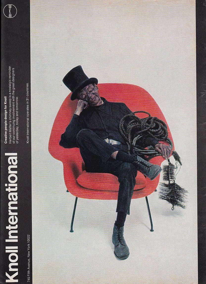Image for Knoll Associates #70 Eero Saarinen Chair MAGAZINE AD 1974 NY chimneysweep