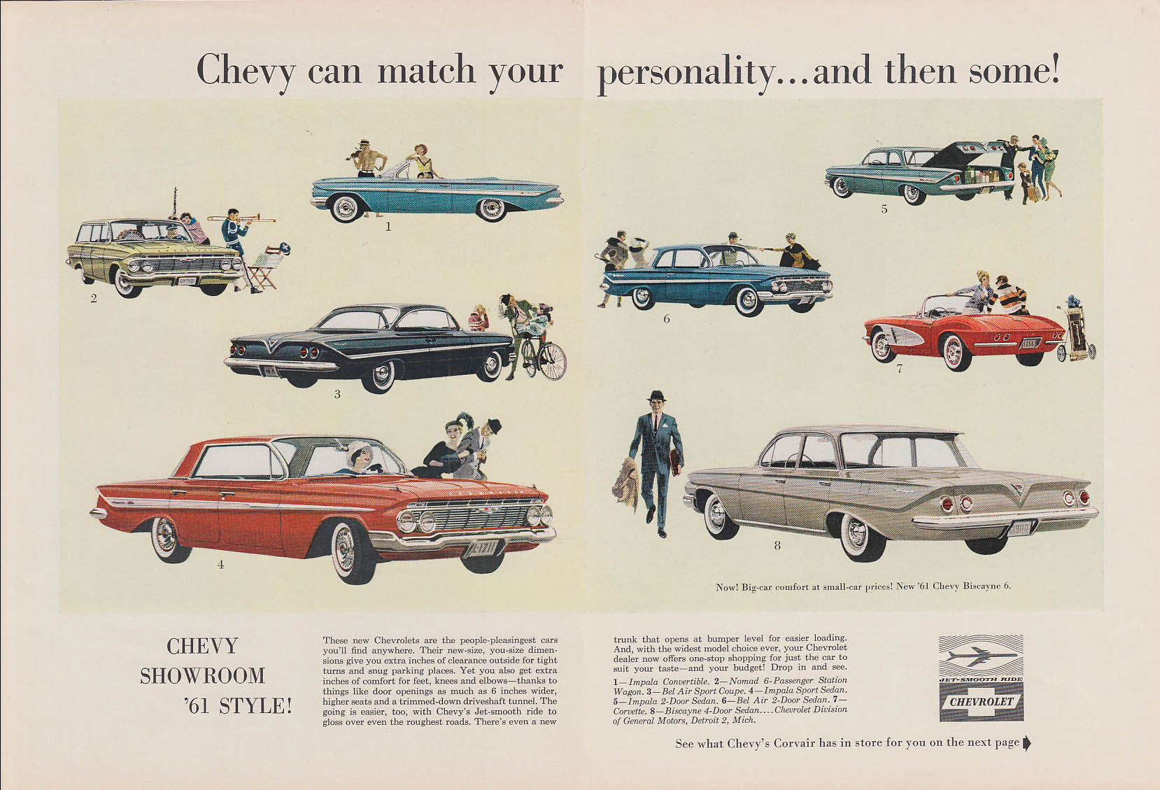 Match your personality Chevrolet Impala Corvair & Corvette ad 1961 NY
