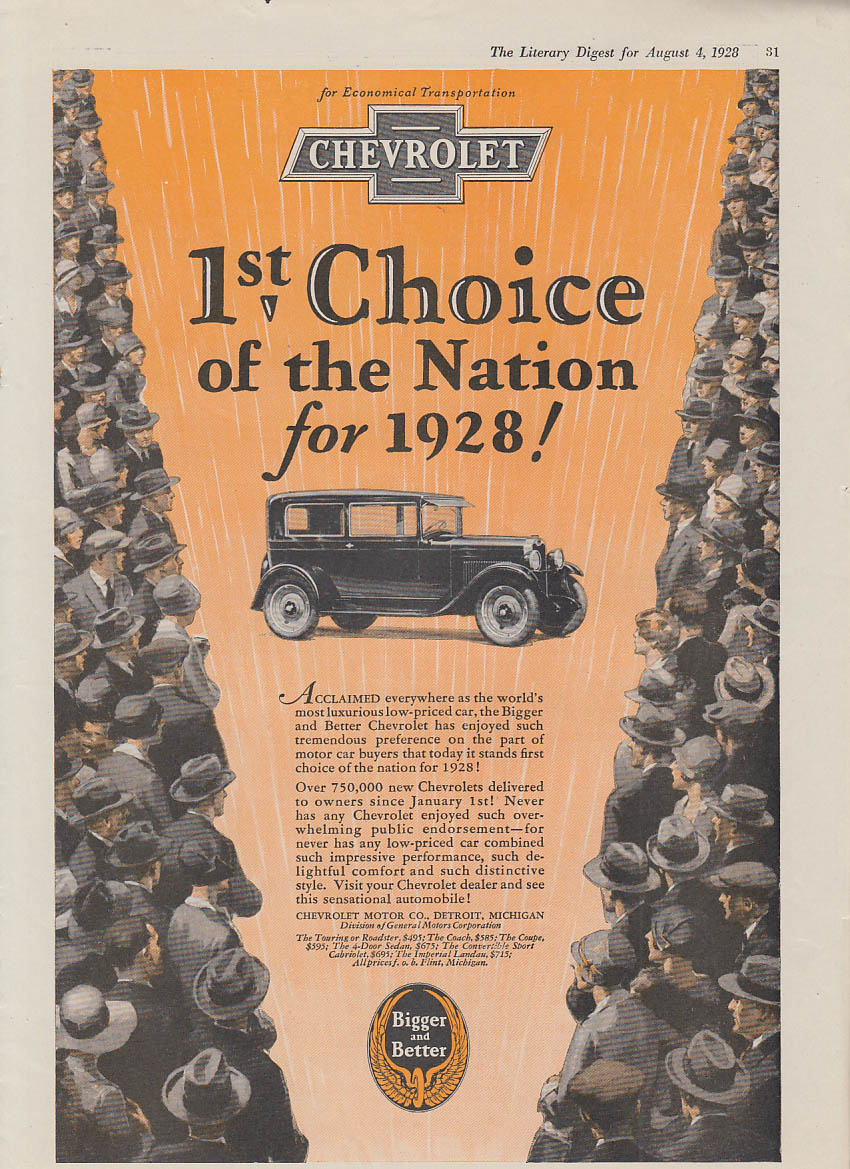 1st Choice of the Nation for 1928! Chevrolet 2-door sedan ad 1928 LD