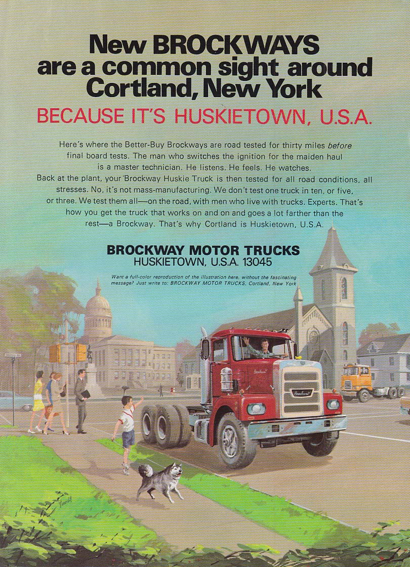 A common sight around Cortland NY - Brockway Trucks ad 1969