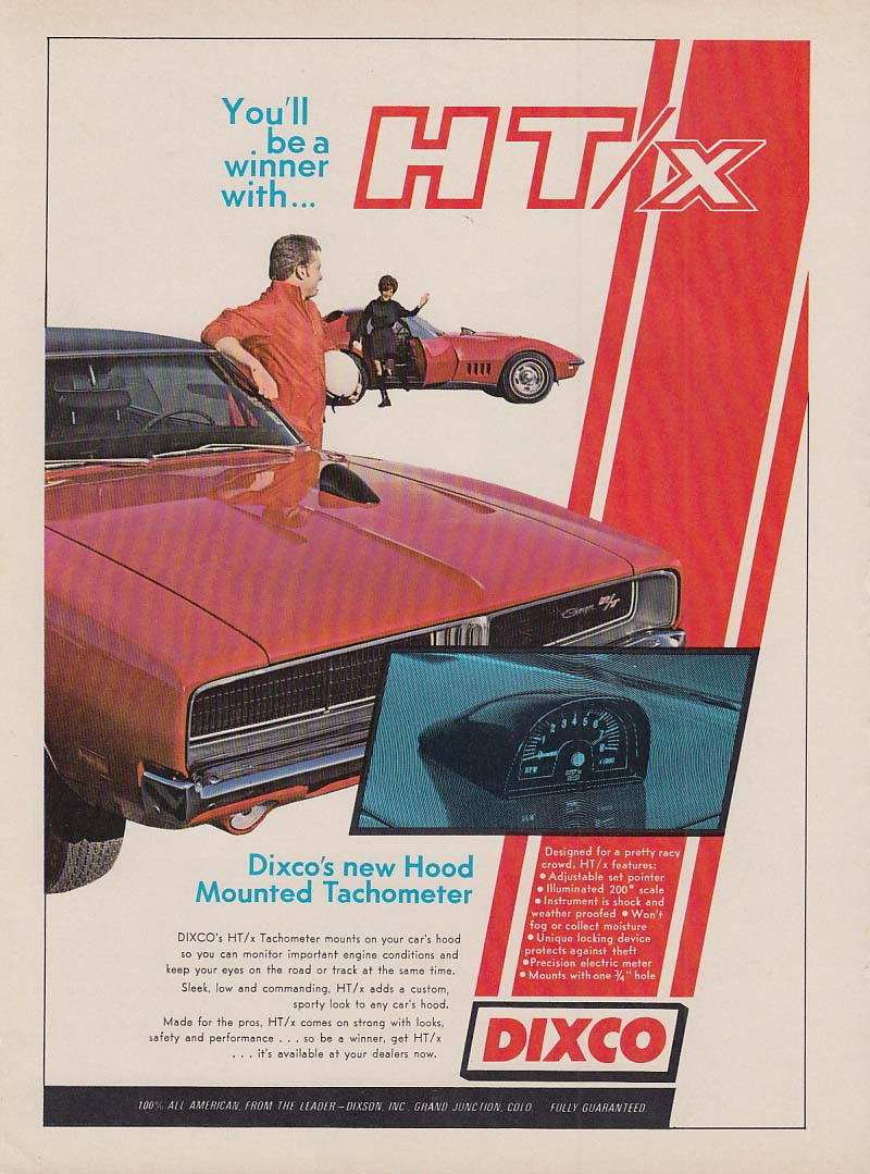 Be a winner Dixco Hood Mounted Tach ad 1969 Dodge Charger R/T Corvette