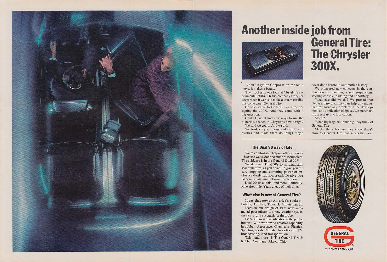 Image for Another inside job from General Tire - Chrysler 300-X experimental ad 1966 Nwk