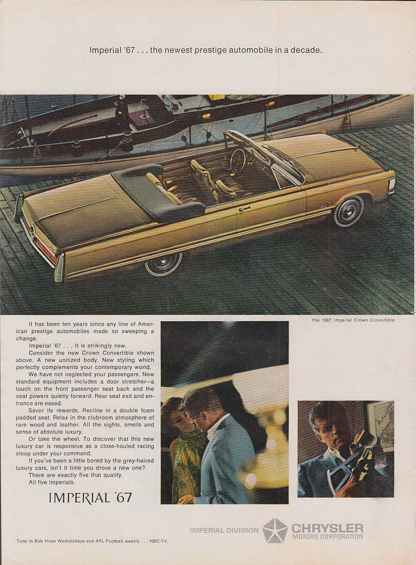 Image for Newest prestige automobile in a decade Imperial Convertible by Chrysler ad 1967