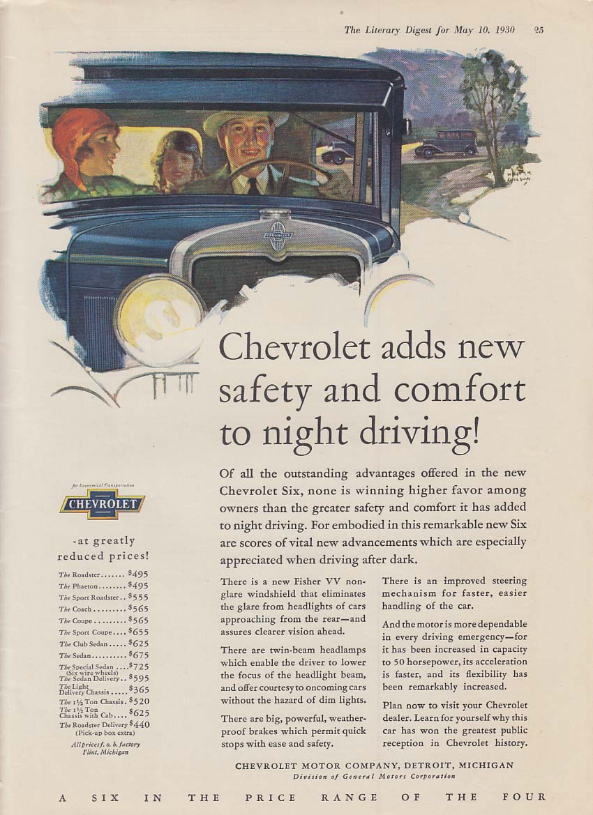 Chevrolet adds new safety & comfort to night driving! Ad 1930 LD