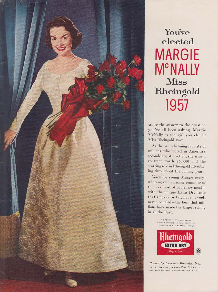 1957 Miss Rheingold Beer Margie McNally ad 1956 gown & roses NY