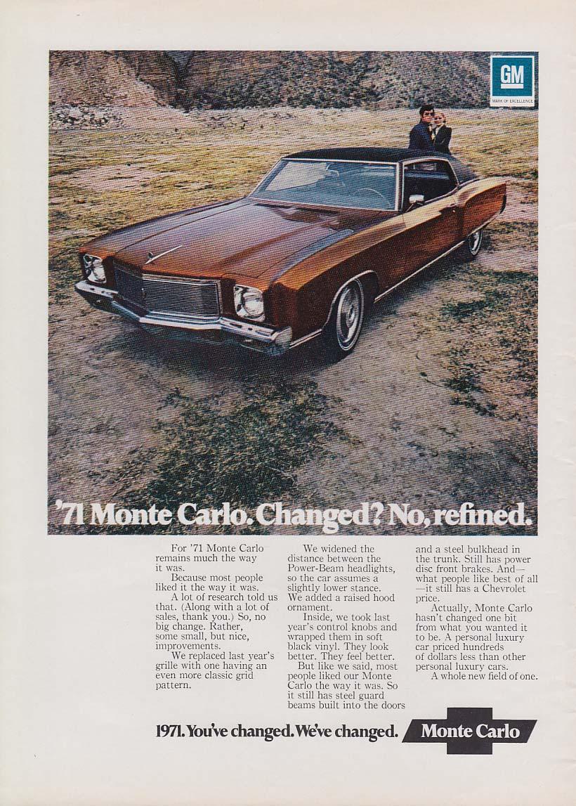 Changed? No, refined. Chevrolet Monto Carlo ad 1971 NY