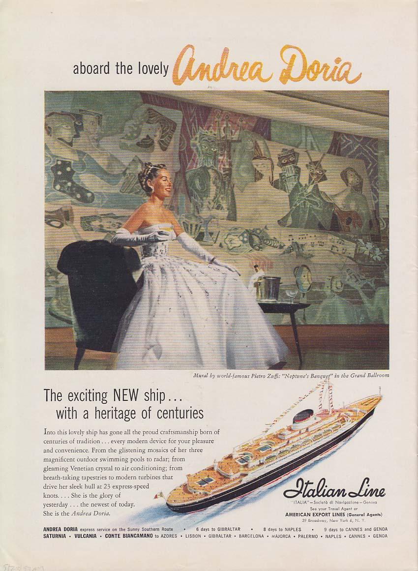 Italian Line Andrea Doria / Relax! You're driving a Hudson ad 1953 NY