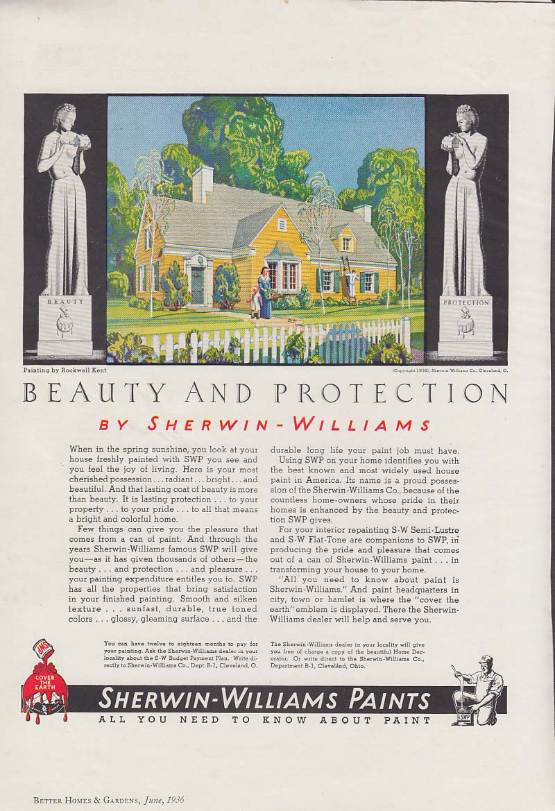 Beauty & Protection by Sherwin-Williams Paint ad 1936 Rockwell Kent BHG