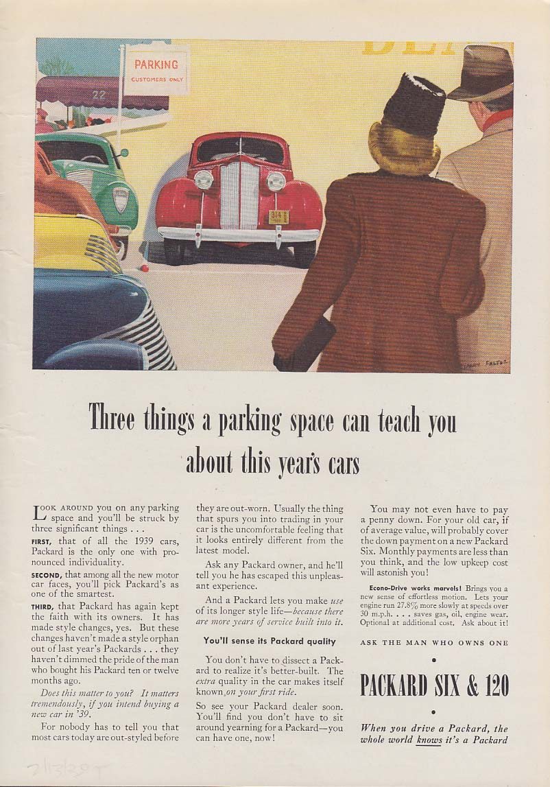 3 things a parking space teaches you - Packard / TWA DC-3 Santa Fe Trail ad 1939