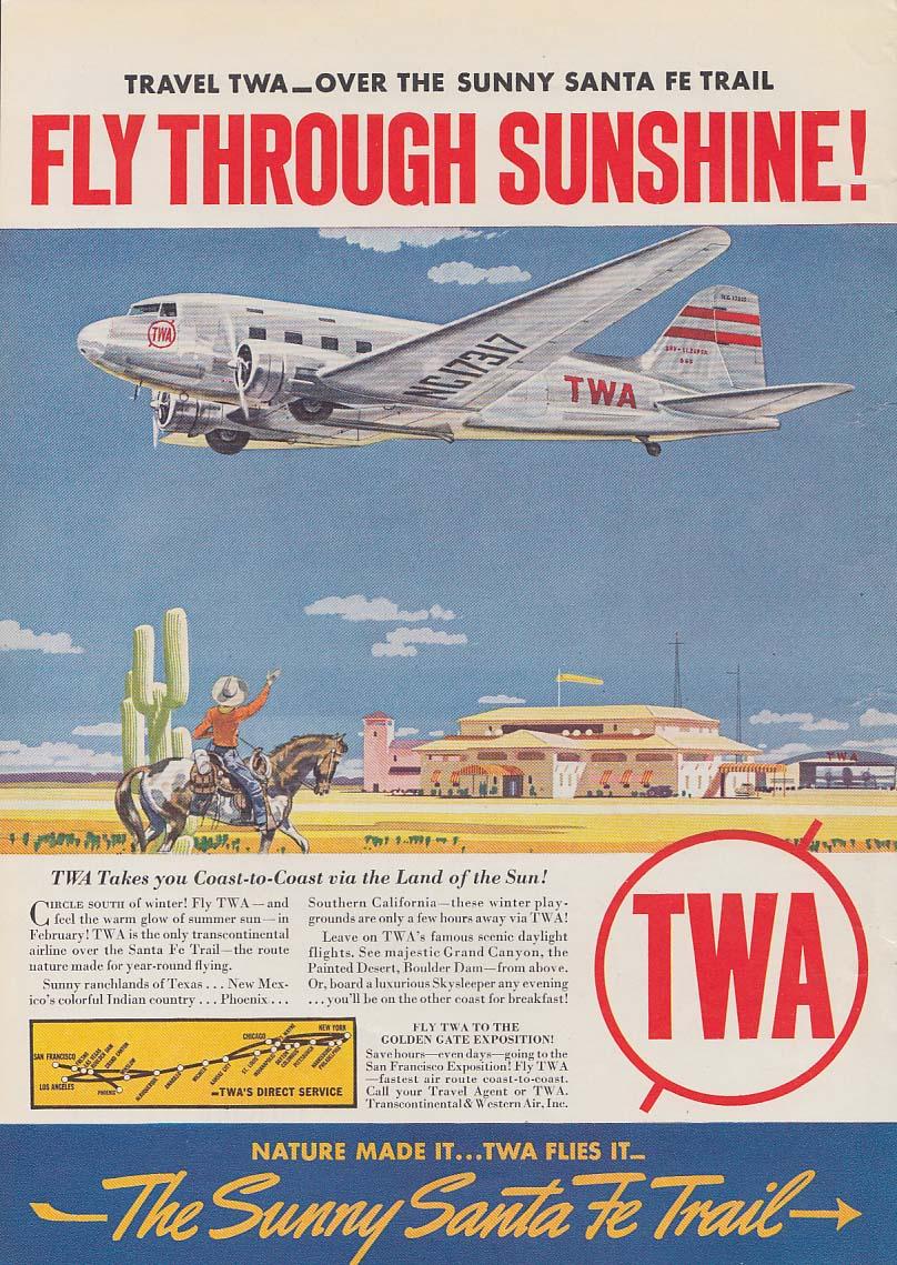3 things a parking space teaches you - Packard / TWA DC-3 Santa Fe Trail ad 1939
