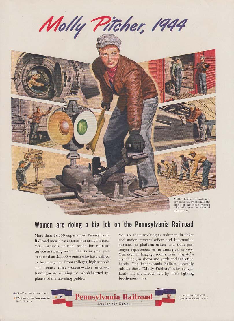 Molly Pitcher 1944 - Women doing a big job Pennsylvania RR ad 1944 var