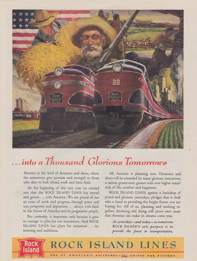 Into a Thousand Glorious Tomorrows Rock Island Lines diesels ad 1945 Nw