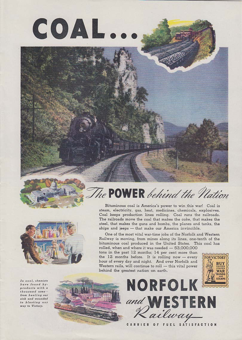 Coal - The power behind the nation Norfolk & Western Railway ad 1942 T