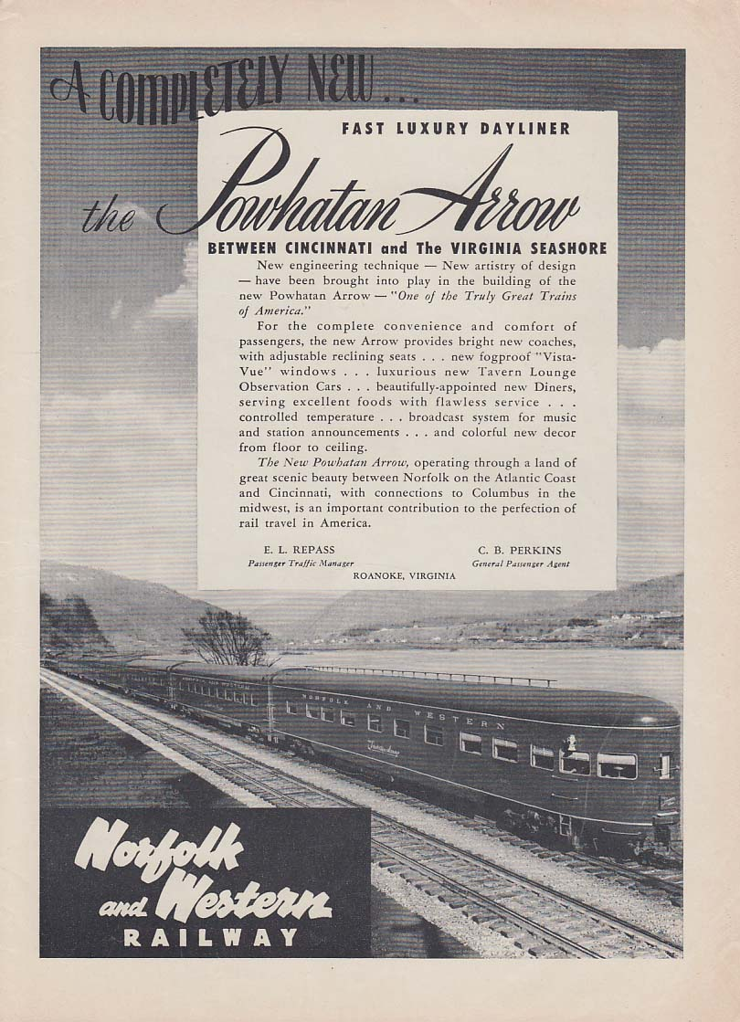 Completely new Powhatan Arrow dayliner Norfolk & Western Railway ad 1950