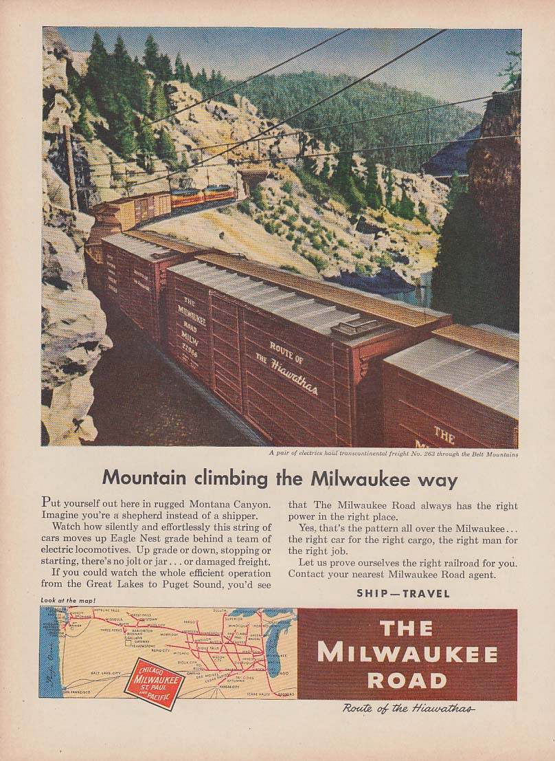 Mountain climbing the Milwaukee Road way electric-headed freight ad 1952