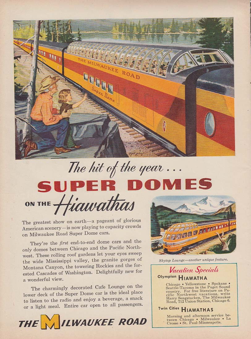 Hit of the year Hiawatha Super Domes Milwaukee Road ad 1953 Var