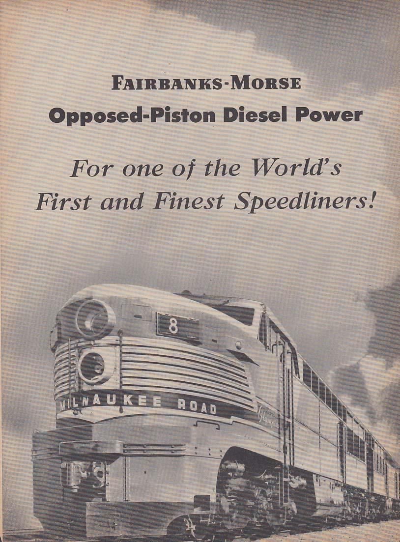 Milwaukee Road Fairbanks-Morse Opposed-Piston Diesel Locomotive ad 1950 Nw