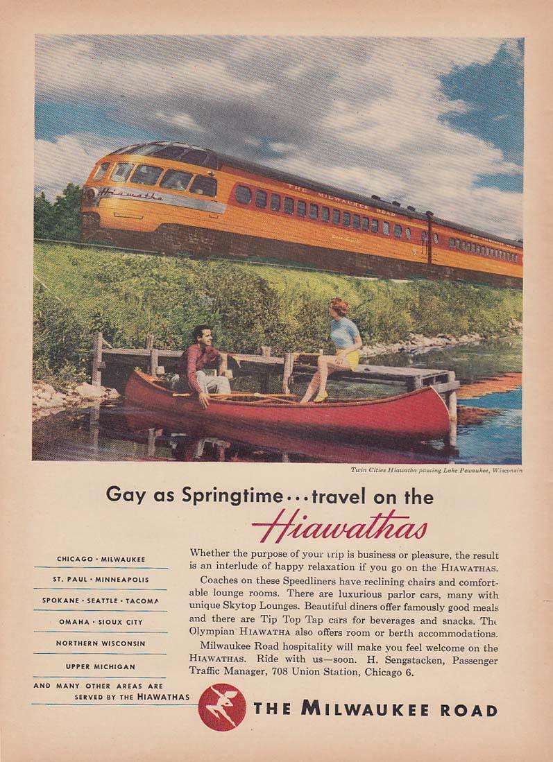 Gay as Springtime - travel on the Milwaukee Road Hiawathas ad 1952 NW