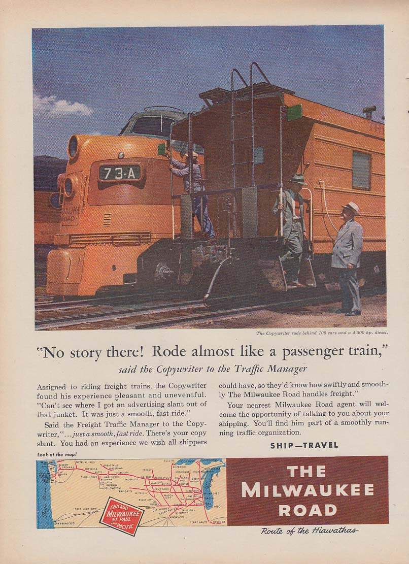 No story here! The Milwaukee Road freight train ad 1952 T