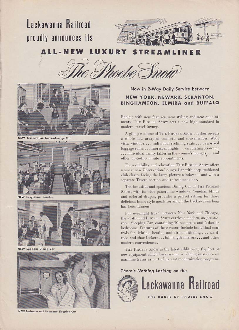 All-New Luxury Streamlined The Phoebe Snow Lackawanna Railroad ad 1950 Tr