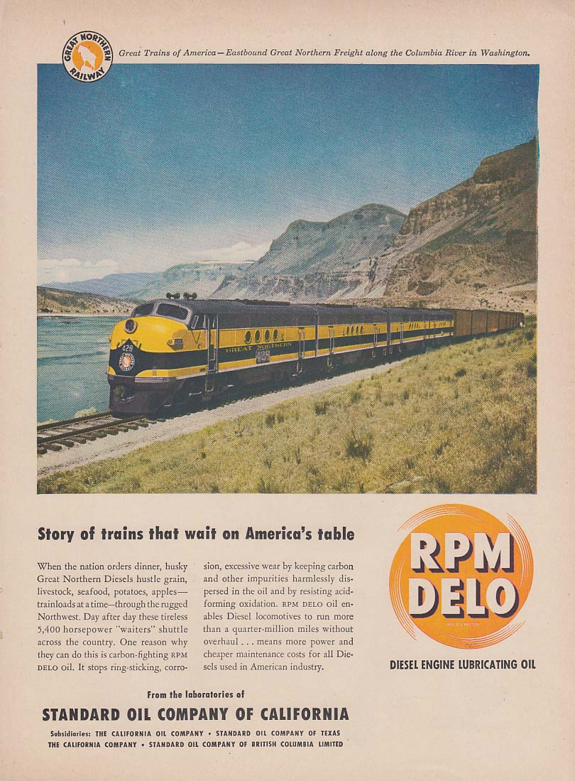 Great Northern Railway freight on Columbia River RPM Delo ad 1949