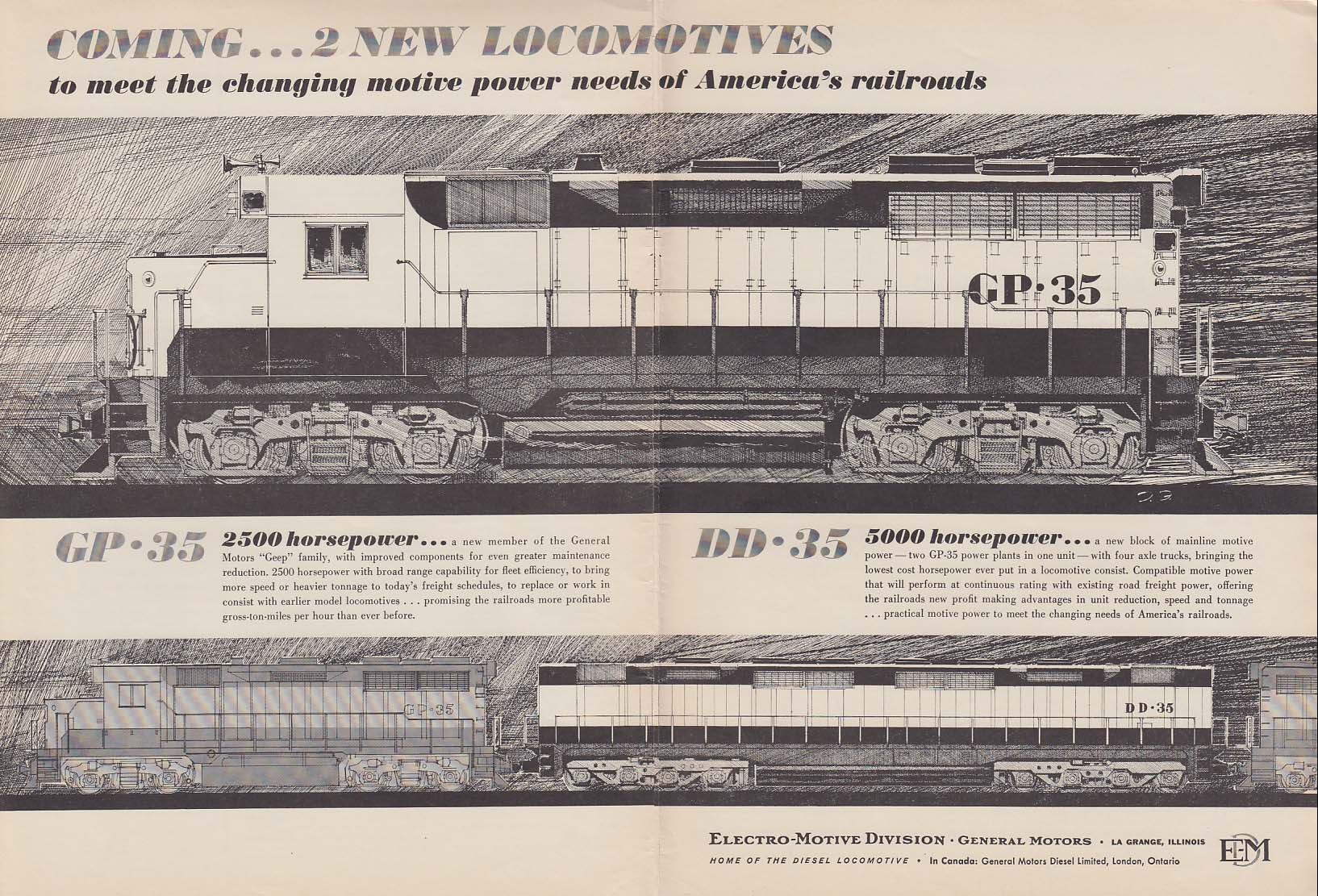 Coming! 2 new GM EMD locomotives GP-35 DD-35 ad 1963