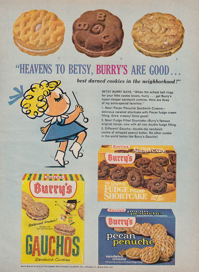 Image for Heavens to Betsy Burry's Cookies are Good ad 1963 Gauchos Penuche Fudge