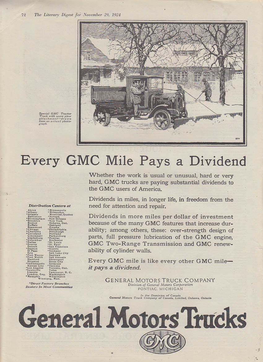 Every GMC Mile Pays a Dividend snowplow dump truck ad 1924