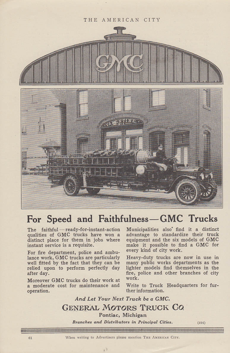Speed & Faithfulness GMC Hook & Ladder fire truck Westbrook FD ad 1919