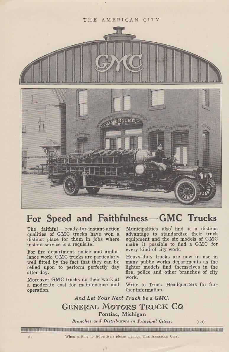 Image for Speed & Faithfulness GMC Hook & Ladder fire truck Westbrook FD ad 1919